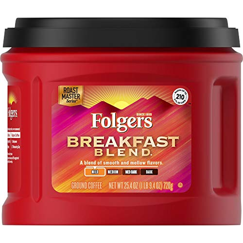 Folgers - Folgers Breakfast Blend Ground Coffee, Mild Roast, 25.4 Ounce