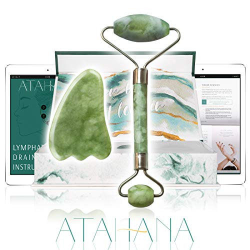 Atahana - Jade Roller With How-To Video - Lymphatic Massage Tutorial. Rejuvenate Your Face, Neck, and Eyes With This Jade Facial Roller. Perfect for Natural Skin Care, Dark Circles and Puffiness.