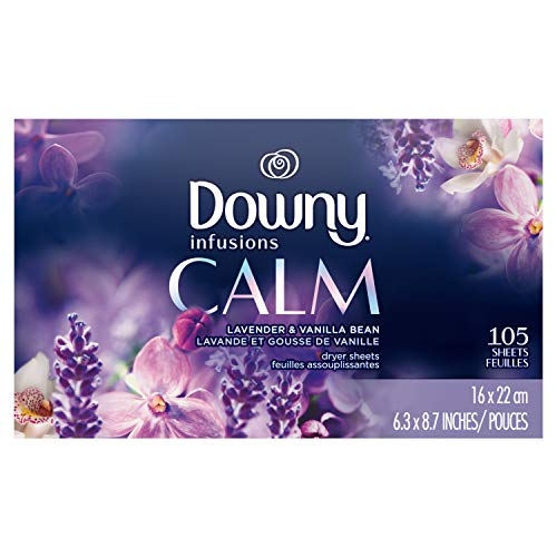 Downy - Downy Infusions Fabric Softener Dryer Sheets, Calm, Lavender & Vanilla Bean, 105 count