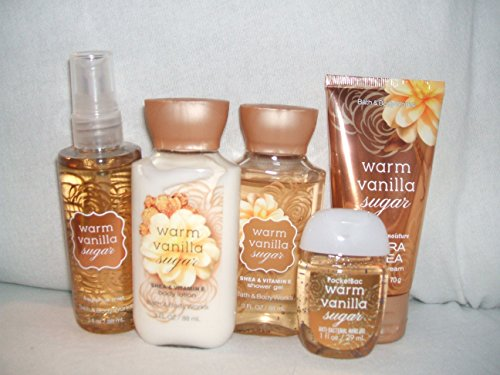 Bath & Body Works - Bath & Body Works WARM VANILLA SUGAR New Look Travel size set of 5 fragrance mist 3 fl oz., body lotion 3 fl oz., shower gel 3 fl oz.,24 hour ultra shea body cream., anti-bacterial hand gel 1 fl oz.