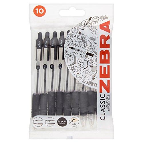 ZEBRA Zebra Ballpen Medium Retractable Pack of 10 - Color: Black
