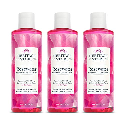Heritage Store Heritage Store Rosewater | Refreshing Facial Splash for Glowing Skin | No Dyes or Alcohol | Vegan & Cruelty Free (8oz, 3pk)