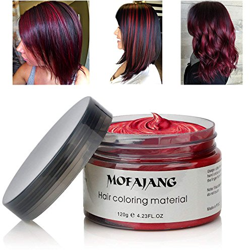 Mofajang - MOFAJANG Hair Coloring Dye Wax, Wine Red Instant Hair Wax, Temporary Hairstyle Cream 4.23 oz, Hair Pomades, Natural Hairstyle Wax for Men and Women Party Cosplay