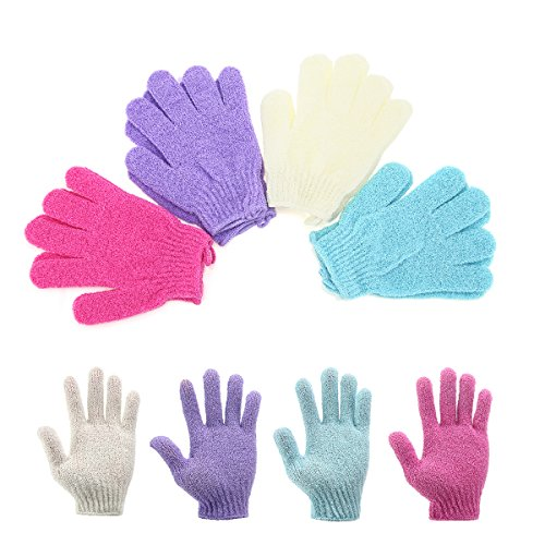Moonmini - Moonmini® 4 Pair Set Scrubbing Exfoliating Gloves ★ Double Side Durable Nylon Shower Gloves ★ Body Scrub Exfoliator for Men, Women & Kids ★ Bath Scrubber for Acne & Dead Cell