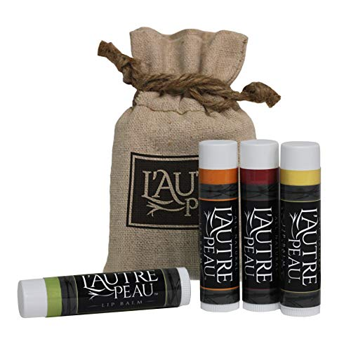 L'AUTRE PEAU - All Natural Luxury Lip Balm with Natural Beeswax by L'AUTRE PEAU - Dry Chapped Lips Treatment with Moisturizer | Indulgence Gift Set | Green Tea, Asian Pear, Pomegranate & Honey (4 Pack)