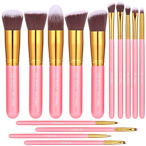 BS-MALL - BS-MALL New 14 Pcs Makeup Brushes Premium Synthetic Kabuki Makeup Brush Set Cosmetics Foundation Blending Blush Eyeliner Face Powder Brush Makeup Brush Kit(golden Pink)