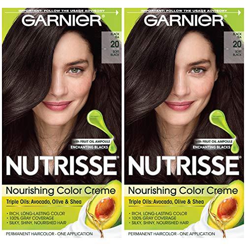 Garnier - Hair Color Nutrisse Nourishing Creme, 20 Soft Black (Black Tea)