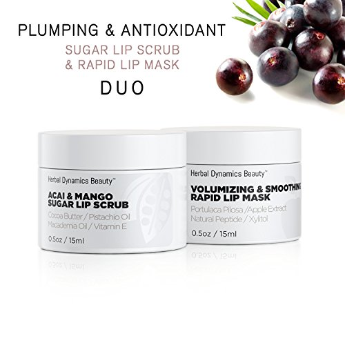 Herbal Dynamics Beauty - HD Beauty Plumping + Antioxidant Sugar Lip Scrub and Rapid Lip Mask Duo, for Hydrating Dry Lips, Volumizing and Antiaging with Acai, Mango Butter, and Apple Extract