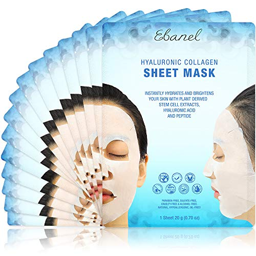 Ebanel Laboratories - Ebanel Korean Collagen Facial Face Mask Sheet, 15 Pack, Instant Brightening and Hydrating, Deep Moisturizing with Hyaluronic Acid Face Masks, Anti-Aging Anti-Wrinkle with Stem Cell Extracts, Peptide