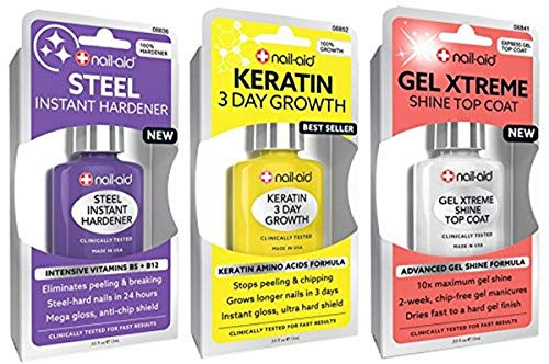 Nail-Aid - NAIL-AID Hardener + Keratin Growth + Gel Top Coat, Clear, 3 Count