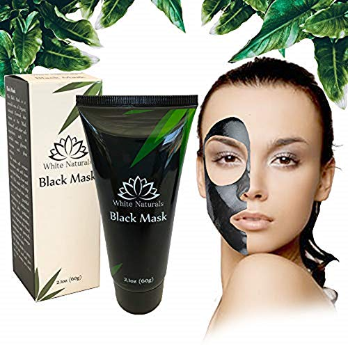 White Naturals - Blackhead Remover Mask, Blackhead Peel Off Mask, Black Face Mask, Charcoal Facial Mask For Deep Cleaning, Oil Control, Clear & Smooth Skin, Purifying& Detoxifying, Unclog Pores for Face & Nose 60g