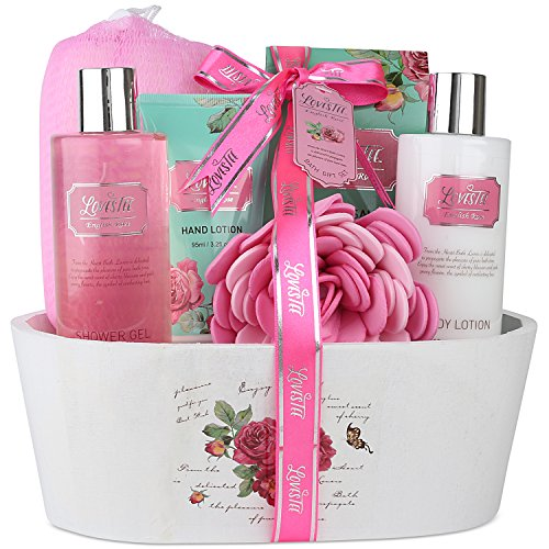 Lovestee - Relaxing Bath Spa Kit For Men, Women and Teens, Gift Set Bath And Body Works- Natural English Rose Aromatherapy Spa Gift Basket Includes Shower Gel, Bubble Bath, Body Lotion, Bath Salt, Sponge