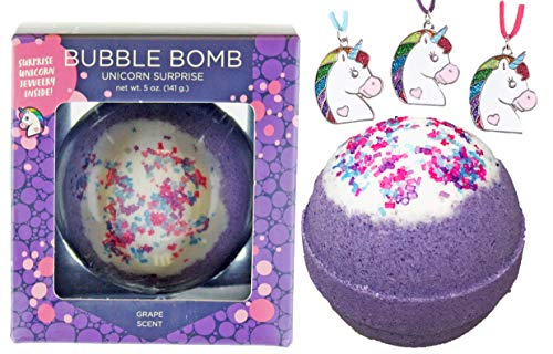 Two Sisters Spa - Girls Unicorn BUBBLE Bath Bomb with Surprise Necklace Inside by Two Sisters Spa, Best Birthday Gift Idea, Large Scented Spa Fizzy, Fun Color, Lush Scent, Kid Safe, Vegan, Hand-made in USA