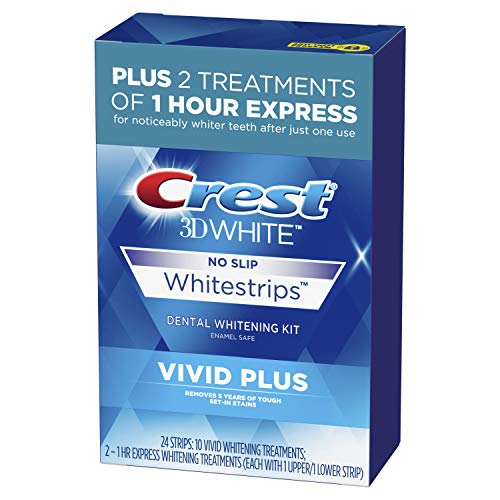 Crest - Crest 3D White Whitestrips Vivid Plus 12 Treatments – 10 Treatments Vivid Whitestrips + 2 Treatments 1 Hour Express Dental Teeth Whitening Kit