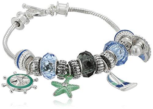 "Napier Napier ""Gift Box"" Boxed Silver-Tone and Multi-Sealife Slider Bracelet"