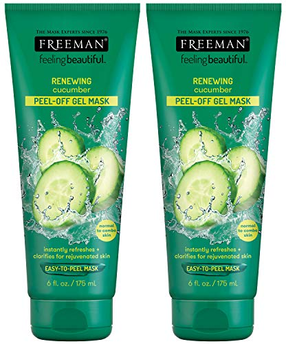 Freeman - Freeman Renewing Peel Off Gel Facial Mask with Aloe and Cucumber, Smoothing and Moisturizing Beauty Face Mask, 6 oz, 2 Pack