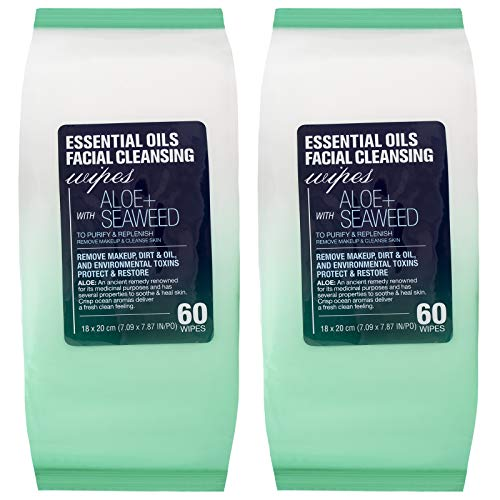 Essential Oils and Co. - Essential Oils - 2 Pack (60 Count Each) Aloe and Seaweed Facial Cleansing Wipes