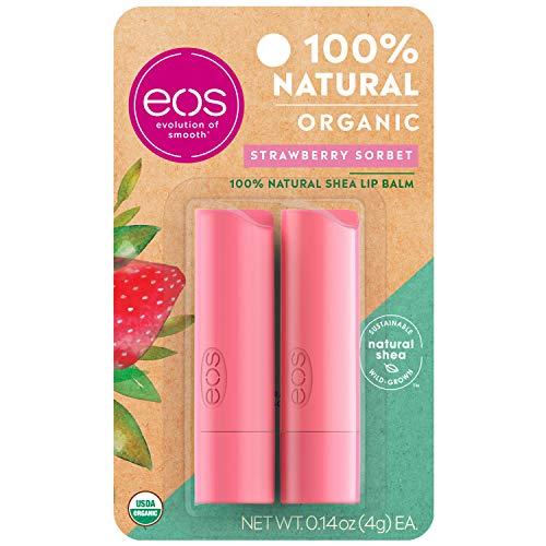 Eos - eos Organic Stick Lip Balm - Strawberry Sorbet | Certified Organic & 100% Natural | 0.14 oz.
