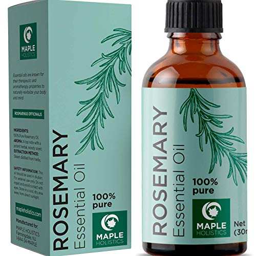 Maple Holistics - 100% Pure Rosemary Essential Oil for Therapeutic Aromatherapy Stimulating Scalp Treatment for Healthy Hair Growth Anti Aging Antioxidant Ancient Beauty Elixir Natural Skin Care for Acne and Wrinkles