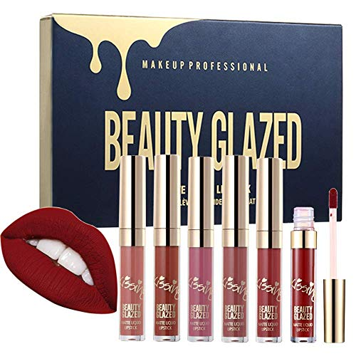Beauty Glazed - Beauty Glazed 6pcs/set Makeup Matte Not Faded Lipstick Lip Kit Gloss Long Lasting Lip Stick Cosmetics Mini Set