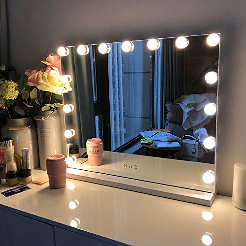 FENCHILIN - FENCHILIN Large Vanity Mirror with Lights, Hollywood Lighted Makeup Mirror with 14 Dimmable LED Bulbs for Dressing Room & Bedroom, Tabletop or Wall-Mounted, Slim Metal Frame Design, White