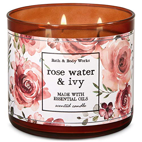 Bath & Body Works Bath and Body Works Rose Water & Ivy 3-Wick Candle 14.5 Ounce (2019 Limited Edition)