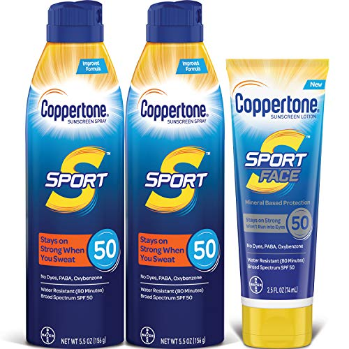 Coppertone - Coppertone SPORT SPF 50 Sunscreen Spray + SPORT Face SPF 50 Mineral Based Sunscreen Lotion Multipack (Two 5.5 Ounce Sprays + One 2.5 FL Ounce Lotion)