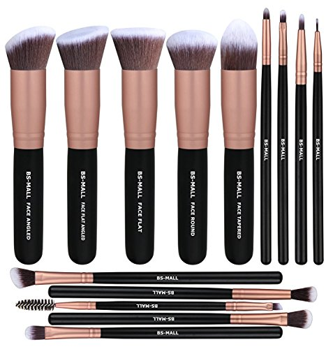 BS-MALL - BS-MALL Makeup Brushes Premium Synthetic Foundation Powder Concealers Eye Shadows SMakeup Brush Sets, Rose Golden, 14 Pcs