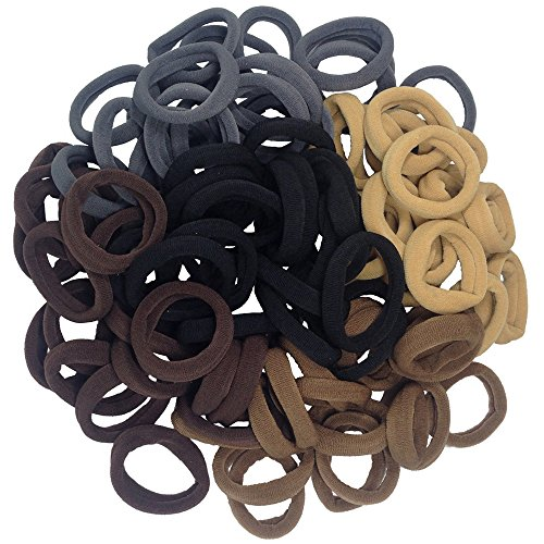 J-MEE - Thick Seamless Cotton Hair Bands, Simply Hair Ties Ponytail Holders Headband Scrunchies Hair Accessories No Crease Damage for Thick Hair (Neutral Colors)