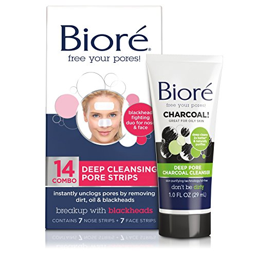 Bioré - Biore Deep Cleansing Pore Strips for Nose & Face Combo Pack + Bonus Mini Deep Pore Charcoal Cleanser for Oily Skin, 2 Ounce