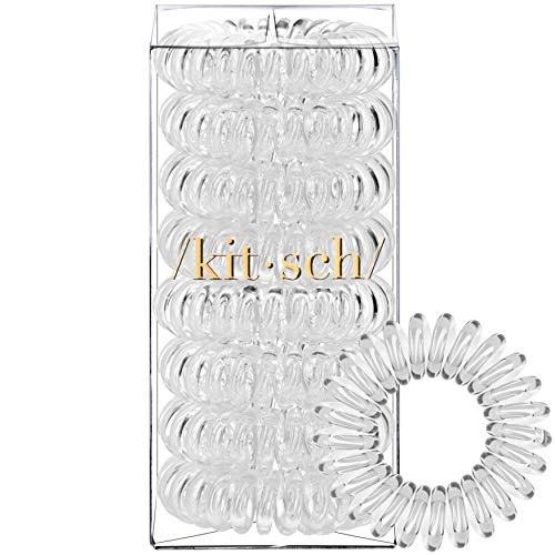 Kitsch - Kitsch Spiral Hair Ties, Coil Hair Ties, Phone Cord Hair Ties, Hair Coils - 8pcs, Transparent