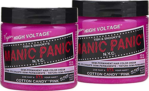 Manic Panic - Manic Panic Cotton Candy Pink Hair Color Cream (2-Pack) Classic High Voltage Semi-Permanent Hair Dye - Vivid, Pink Shade For Dark Light Hair – Vegan, PPD & Ammonia-Free - Ready-to-Use, No-Mix Coloring