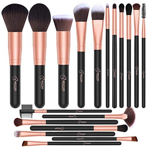 Bestope - BESTOPE Makeup Brushes 18 PCs Makeup Brush Set Premium Synthetic Foundation Powder Kabuki Brushes Concealers Eye Shadows Make Up Brushes Kit