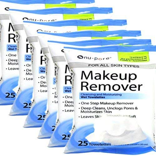 Nu-Pore - Nu-pore Makeup Remover, Cleansing and Moisturizing Wet 25 Towelettes (Pack of 6)