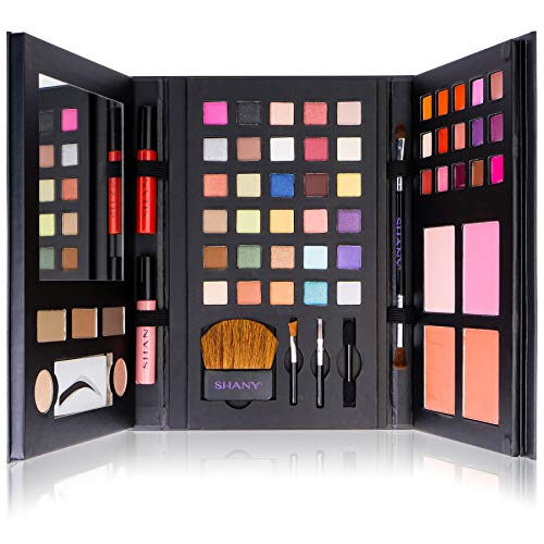 Shany Cosmetics - SHANY Luxe Book Makeup Set - All In One Travel Cosmetics Kit with 30 Eyeshadows, 15 Lip Colors, 5 Brushes, 4 Pressed Blushes, 3 Brow Colors, and Mirror