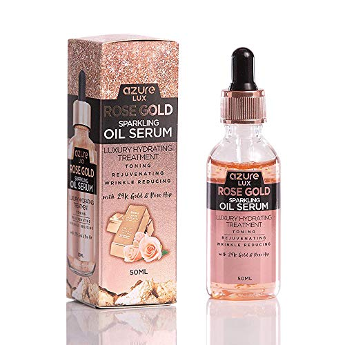 Azure Cosmetics - Rosehip Oil and 24K Gold Anti Wrinkle Sparkling Oil Serum – Wrinkle, Fine Line & Acne Scar Reducing | Hydrates and Moisturizes Skin | Tones and Rejuvenates – 50ml