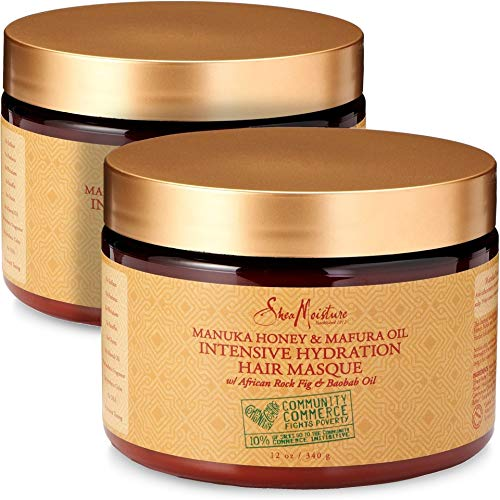 Sheamoisture - Shea Moisture Manuka Honey & Mafura Oil Intensive Hydration Hair Masque, with African Rock Fig & Baobab Oil, 12 Ounce - Value Double Pack - Qty of 2 each