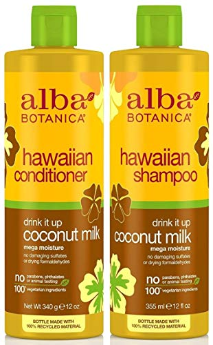 Alba Botanica - Alba Botanica Drink It Up Coconut Milk, Hawaiian Duo Set Shampoo and Conditioner, 12 Ounce Bottle Each