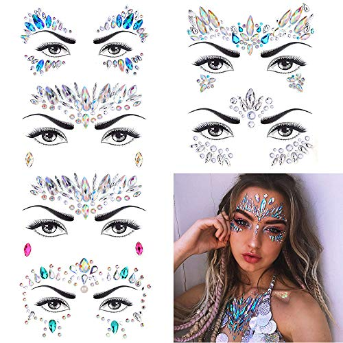 Diva Woo - 6 Sets Women Mermaid Face Gems Glitter,Rhinestone Rave Festival Face Jewels ,Crystals Face Stickers, Eyes Face Body Temporary Tattoos