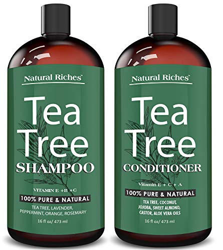 Natural Riches - Sulfate free anti dandruff Tea-Tree-Oil Shampoo and Conditioner Set – Made with Therapeutic Grade Tea Tree Essential Oil - Deep Cleansing for Dandruff, Dry Scalp & Itchy Hair – Men & Women 2x16oz …