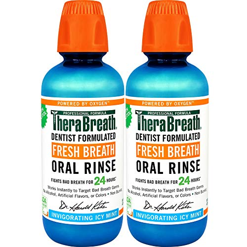 Therabreath - TheraBreath – Fresh Breath Oral Rinse – Icy Mint Flavor – Dentist Formulated – No Stinging or Burning – Stops Bad Breath – Gluten-Free – Certified Kosher – 16 Ounces – Two-Pack
