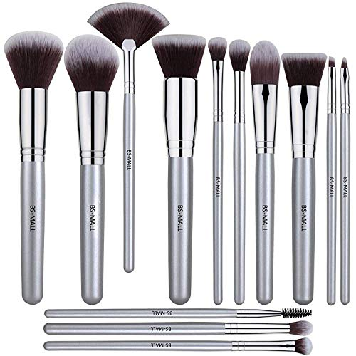 BS-MALL - BS-MALL 13 PCS Makeup Brush Set Premium Synthetic Silver Foundation Blending Blush Face Powder Brush Makeup Brush Kit