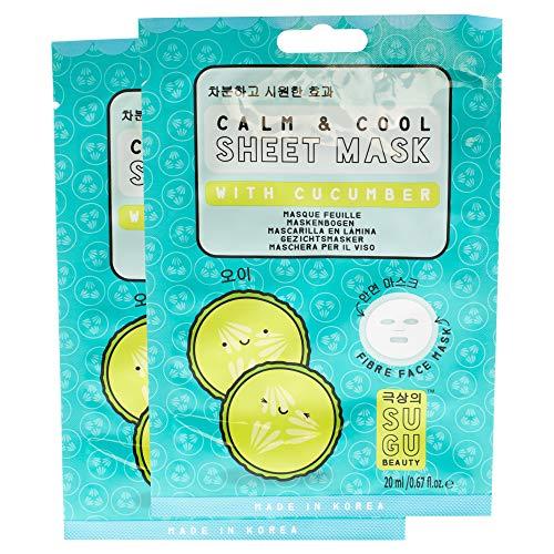 SUGU - SUGU Korean Calm & Cool Cucumber Face Sheet Masks, 12-Count
