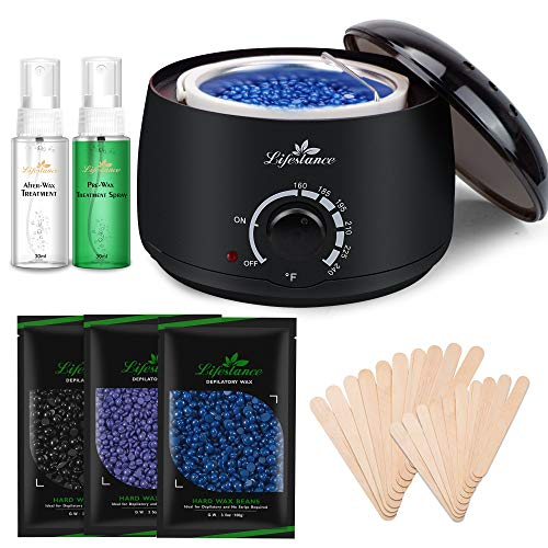 Lifestance - Lifestance Wax Warmer Hair Removal Kit with Hard Wax Beans and Wax Applicator Sticks
