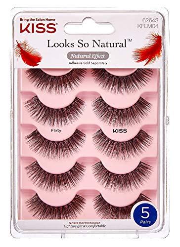 Kiss - Kiss 5 pair of Flirty Eyelashes KFLM04 with tapered ends