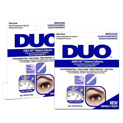 DUO - DUO Quick-Set Clear False Strip Lash Adhesive, Dries Invisible 0.18 oz x 2 pack