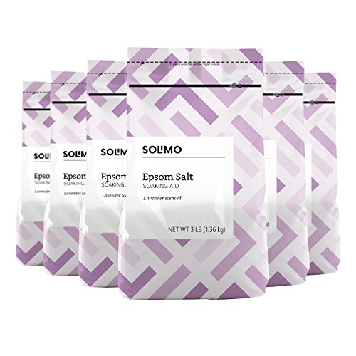Solimo - Amazon Brand - Solimo Epsom Salt Soaking Aid, Lavender Scented, 3 Pound (Pack of 6)