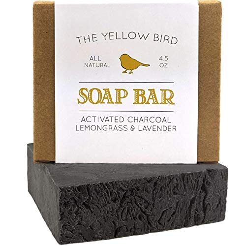 The Yellow Bird - Activated Charcoal Soap Bar. All Natural Detoxifying Face & Body Cleanser. Certified Organic Ingredients. Paraben & Sulfate Free. For Acne, Eczema, Psoriasis, Rosacea, Dry Sensitive Skin