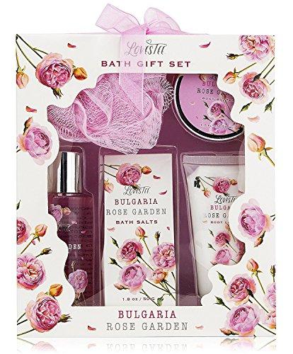 Lovestee - Bath Gift Basket - Spa Gift Set, Bath and Body Set with Bulgaria Rose Garden Fragrance Includes Bath Puff, Body Butter, Shower Gel, Bath Salt and Body Lotion