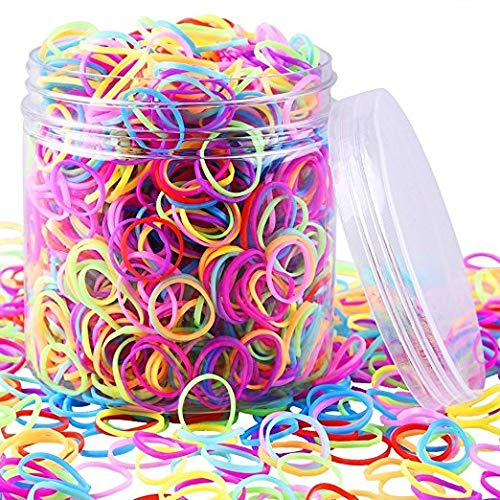 EAONE - EAONE 2000 Pieces Multi-color Rubber Bands Small Candy Color Hair Bands Hair Elastic with Free Box for Baby Girls